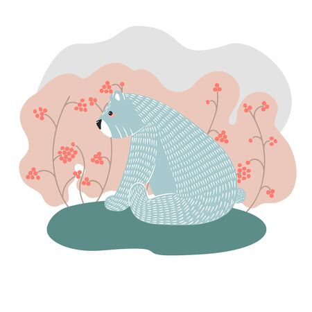 Cute bear on a background of trees. Hand drawn illustration in scandinavian style.