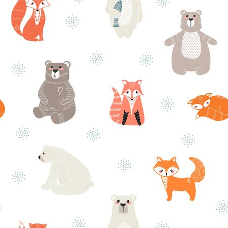 Seamless pattern with cute bears, foxs and different elements. Vector illustration in scandinavian style.