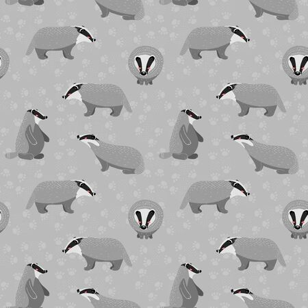 Seamless pattern with cute raccoon and different elements. Vector illustration in scandinavian style. Illusztráció