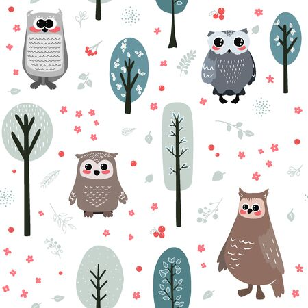 Seamless pattern with cute owl and different elements. Vector illustration in scandinavian style.