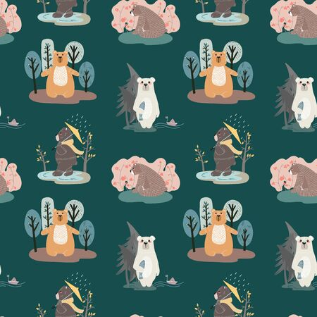 Seamless pattern with cute bears and different elements. Vector illustration in scandinavian style.