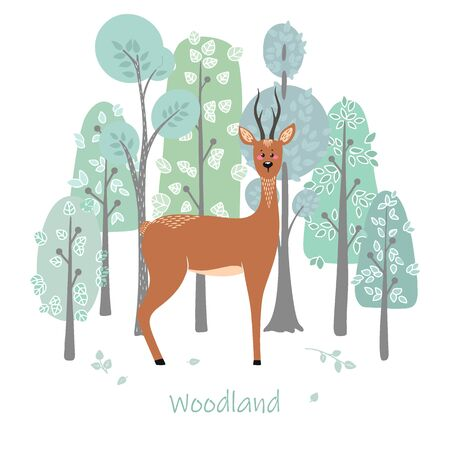 Cute deer, doe, roe deer on the background of a tree, plant, bush. Vector illustration in the Scandinavian style.
