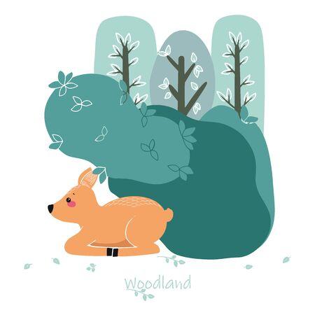 Cute deer, doe, roe deer on the background of a tree, plant, bush. Vector illustration in the Scandinavian style.