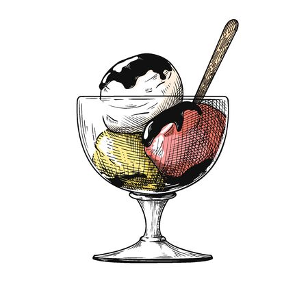 Realistic sketch of ice cream in a vase. Vector illustration in sketch style. Illustration