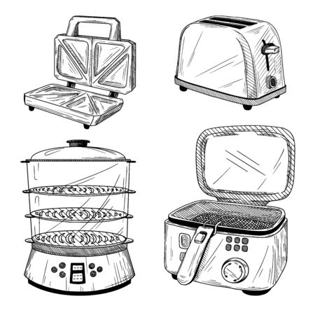 A set of kitchen appliances. Toaster, steamer, fryer isolated on white background. Sketch style vector illustration. Illustration