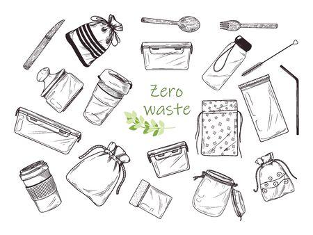 Large set of different environmental items. Zero waste. Vector illustration Illustration