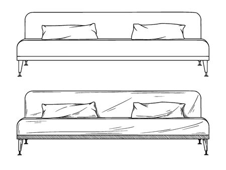 Realistic sketch of sofas isolated on white background. Vector illustration 일러스트