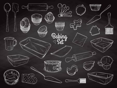 Set of dishes for baking. Baking stuff. Vector illustration in sketch style. Ilustrace