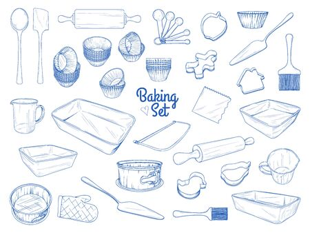 Set of dishes for baking. Baking stuff. Vector illustration in sketch style. Reklamní fotografie - 138024710