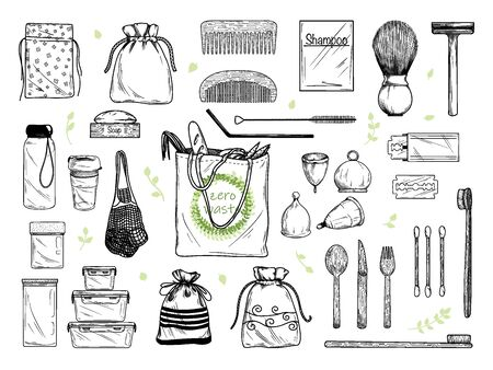 Large set of different environmental items. Zero waste. Vector illustration Stock Vector - 138030696
