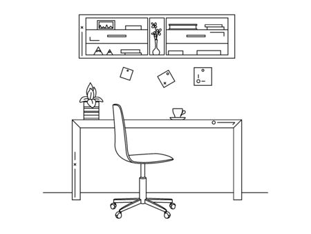 Office in a linear style. Workplace with a computer.