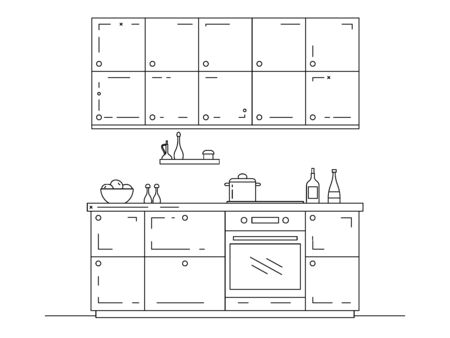 Modern kitchen. Kitchen furniture with sink, hob and extractor. Vector illustration in a linear style. Ilustración de vector