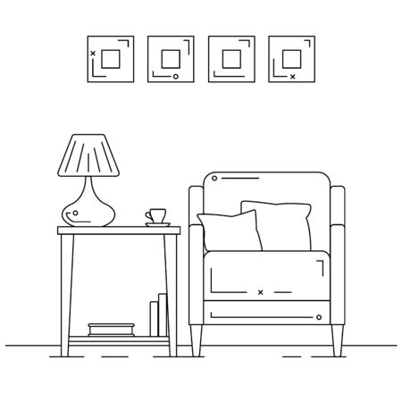 Armchair with pillows, a table with a table lamp. Vector illustration in a linear style.