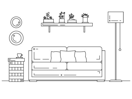Vector illustration in a linear style. Sofa, bedside table, floor lamp and shelf with plants. Vector Ilustracja