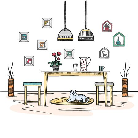 Sketch dining room in boho style. Furniture and many different elements of the interior. Vector illustration.