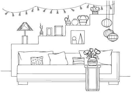 Sketch a cozy living room in boho style. Sofa, table and various decor elements. Vector illustration in sketch style. Illustration