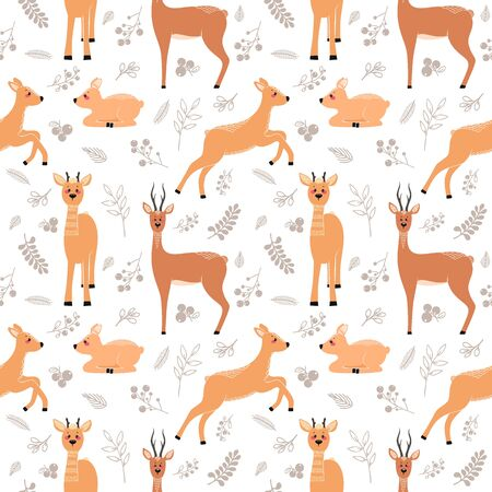 Seamless pattern with deer, doe, roe deer on the background of a tree, plant, bush and different elements. Vector illustrations in the Scandinavian style.