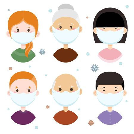 People of different nationalities in medical masks. Characters in flat style. Virus, coronovirus.