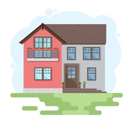 Stylish house against the sky and other elements of the environment. House in a flat style. Vector illustration Ilustracje wektorowe