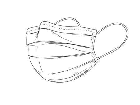 Surgical, Medical Face Mask that protects airborne diseases, viruses. Coronavirus. Defence from air pollution. Vector illustration in sketch style. Vector Illustration