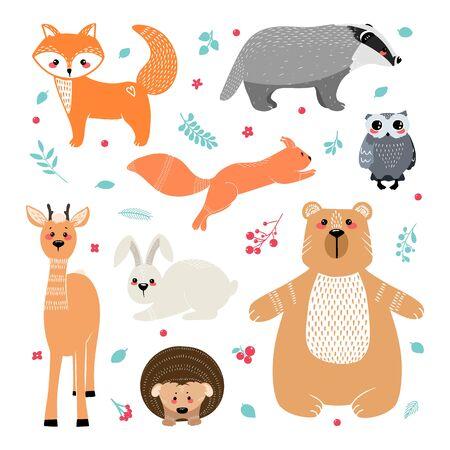 Cute animals: fox, badger, squirrel, owl, deer, doe, roe deer, hare, rabbit, hedgehog bear and different elements Illustration hand drawn in scandinavian style