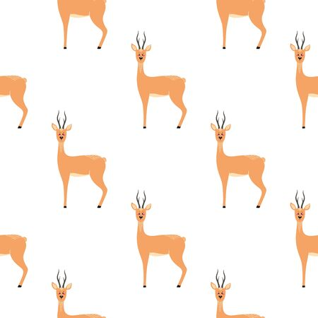 Seamless pattern with deer, doe, roe deer. Vector illustrations in the Scandinavian style. Ilustrace