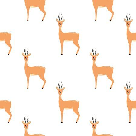 Seamless pattern with deer, doe, roe deer. Vector illustrations in the Scandinavian style. Illustration