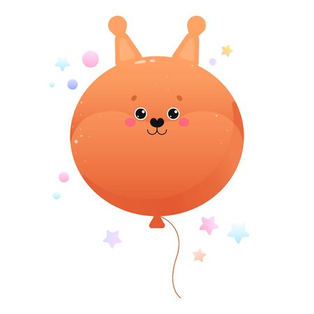 Balloon Cute Kawaii Squirrel. Animal isolated on a white background. Vector illustration