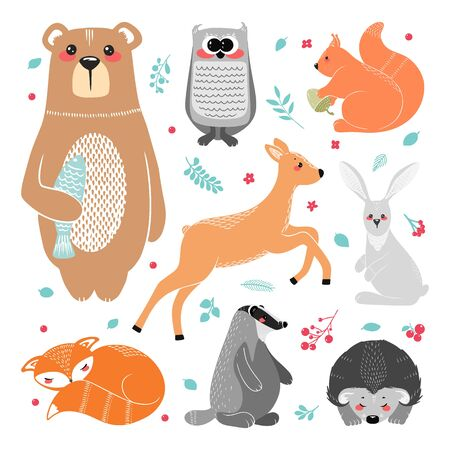 Cute animals: fox, badger, squirrel, owl, deer, doe, roe deer, hare, rabbit, hedgehog bear and different elements Illustration hand drawn in scandinavian style
