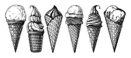 Set of ice cream in a waffle cone. Vector illustration in sketch style.