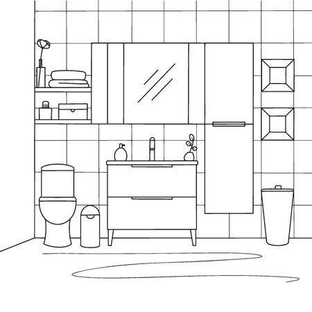 Esquissez la salle de bain. Cuvette de toilette, meubles de salle de bain et autres articles. Illustration vectorielle dans le style de croquis.
