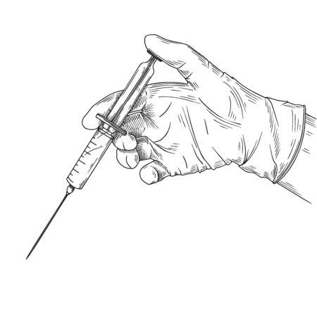 Doctor or scientist hands in latex gloves. Hands in sterile gloves holding syringe. Vector illustration in sketch style.