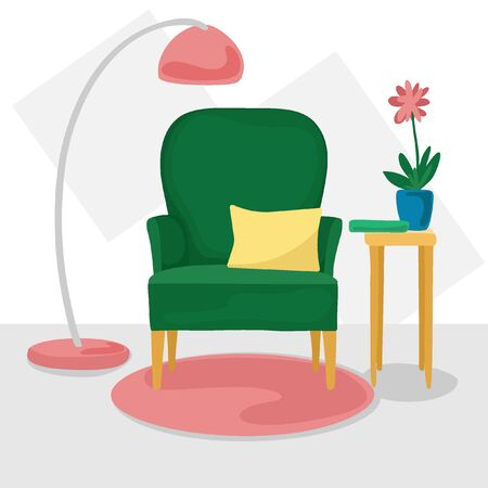 The interior is in a flat style. Green armchair with pillow, floor lamp, table with a vase and a book. Vector