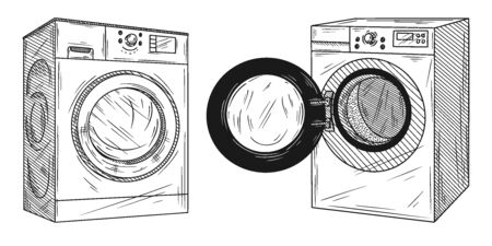 Set of washing machine isolated on white background. Vector illustration of a sketch style.