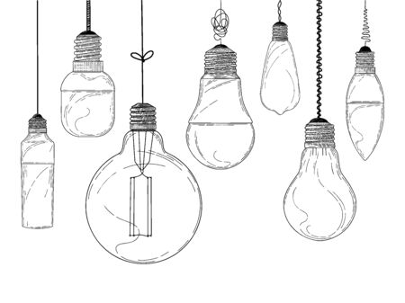 Sketch of hanging light bulbs isolated on a white background. Seamless pattern. Vector illustration