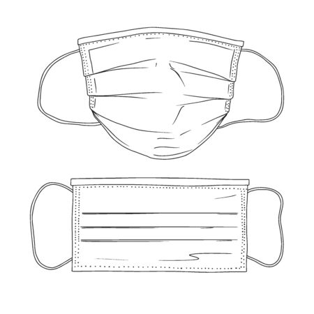 Surgical, Medical Face Mask that protects airborne diseases, viruses. Coronavirus. Defence from air pollution. Vector illustration in sketch style.
