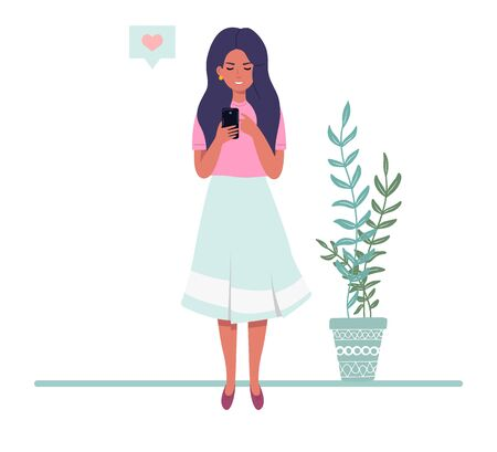 Girl with a phone in a flat style. Woman looking at the phone on the background of plants. Vector illustration.