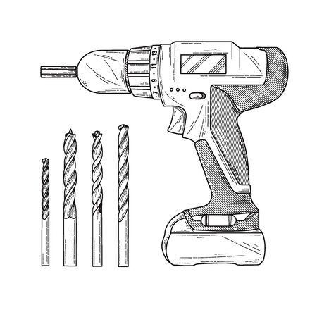 Sketch Screwdrivers with a drill isolated on a white background. Vector illustration Illustration