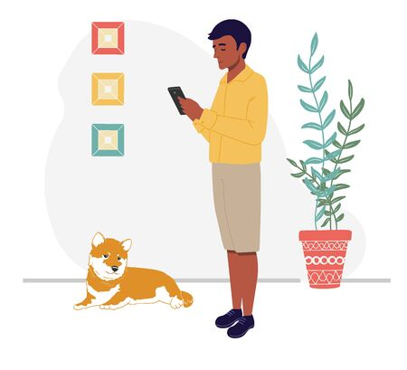 The guy with the phone isolated on a white background in a flat style. A man looks at the phone. Vector illustration.  イラスト・ベクター素材