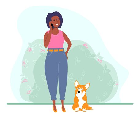 Girl with a phone in a flat style. Woman talking on the phone. Near the girl is a dog, Corgi. Vector illustration.