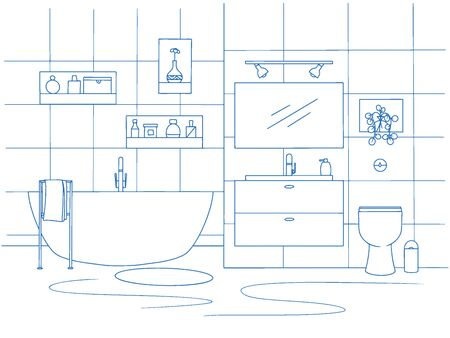 Hand drawn bathroom interior. Sketch bathtubs and other bathroom items. Vector illustration in sketch style.