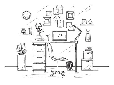 Sketch the room. Office chair, desk, various objects on the table. Sketch workspace. Vector illustration Иллюстрация