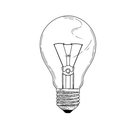 Sketch lightbulb isolated on a white background. Vector illustration  イラスト・ベクター素材