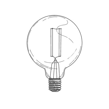 Sketch lightbulb isolated on a white background. Vector illustration Illustration