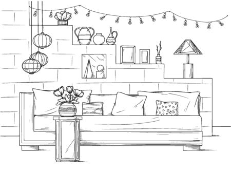 Sketch a cozy living room in boho style. Sofa, table and various decor elements. Vector illustration in sketch style. Иллюстрация