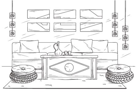 Sketch a cozy living room in boho style. Sofa, table and various decor elements. Vector illustration in sketch style.  イラスト・ベクター素材