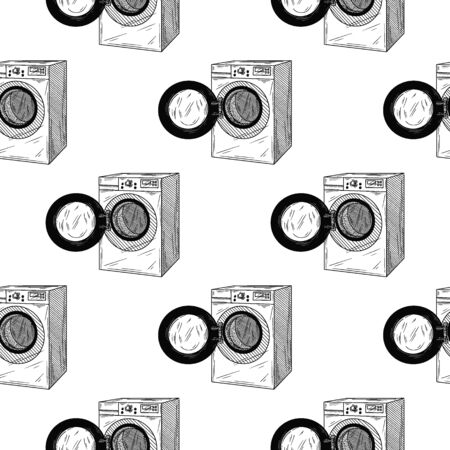Seamless pattern. Washing machine on white background. Vector illustrations in sketch style