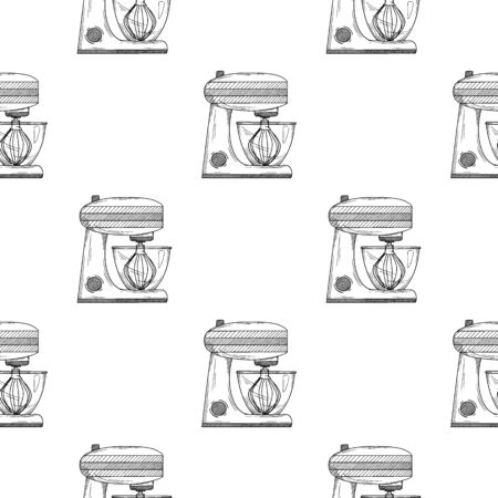 Seamless pattern. Food processor on white background. Vector illustrations in sketch style