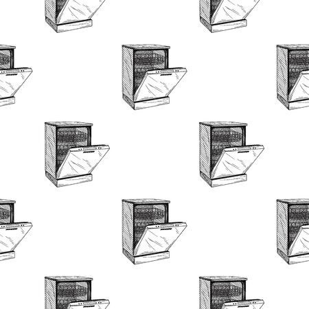 Seamless pattern. Dishwasher on white background. Vector illustrations in sketch style