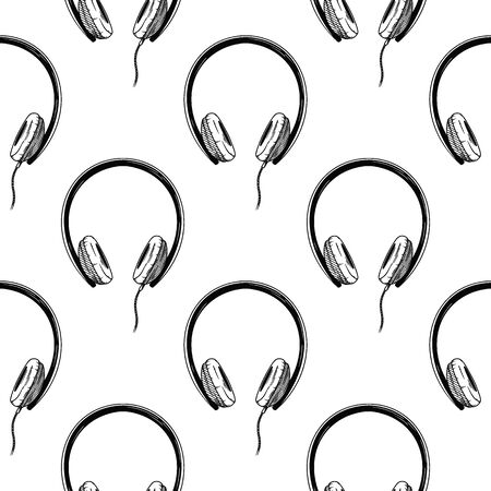 Seamless pattern. Headphones on white background. Vector illustrations in sketch style  イラスト・ベクター素材